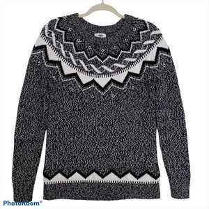 OLD NAVY Fair isle Nordic Knit Crewneck Sweater M